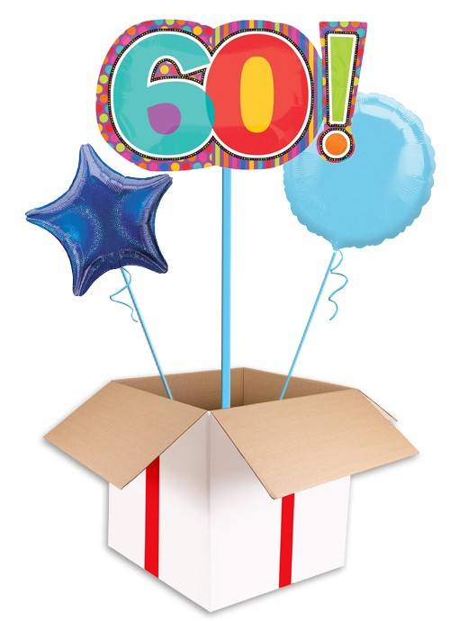 Large Dots Stripes 60th Birthday Balloon For Man