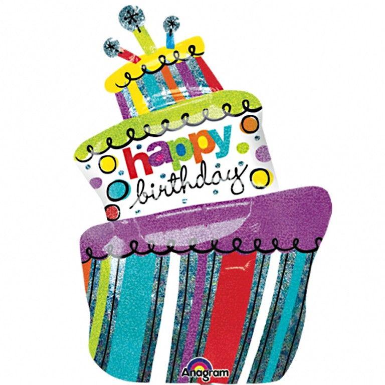 Marvelous Funky Birthday Cake Balloon Delivered Inflated In Uk Personalised Birthday Cards Veneteletsinfo