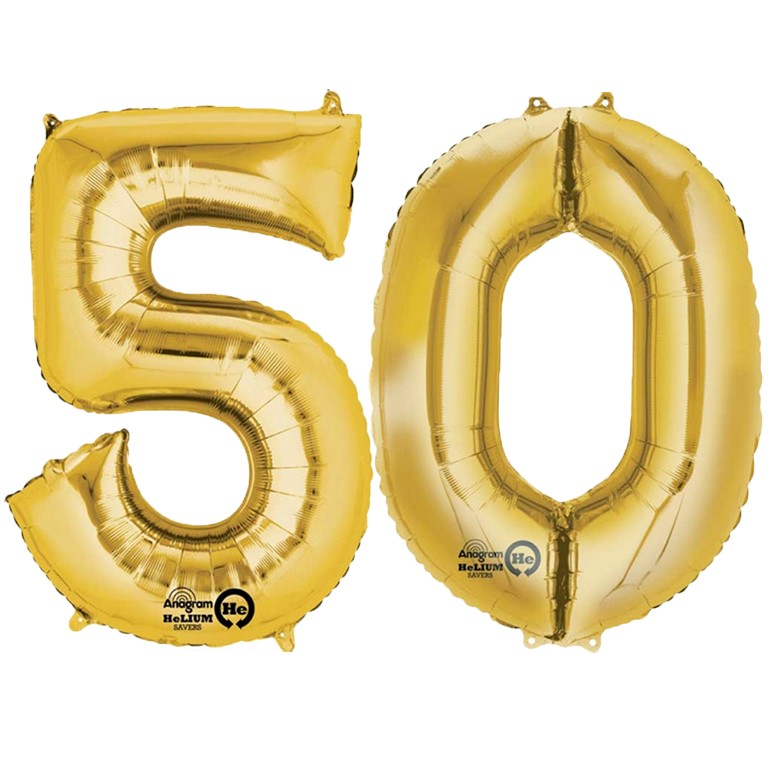 Gold Two Digit Number Balloons 10