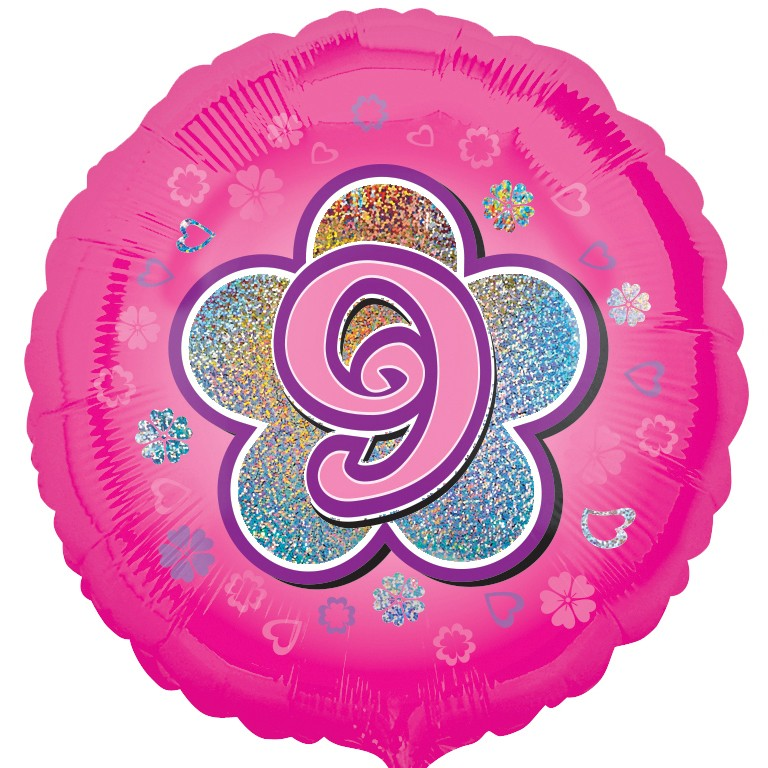 pink flowers 9th birthday balloon delivered inflated in uk