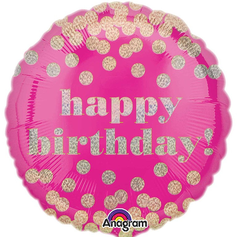 More Views Pink Dotty Birthday Balloon