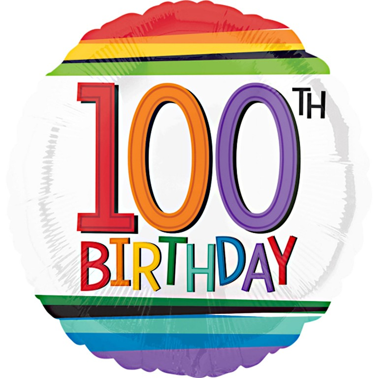 More Views Rainbow 100th Birthday Balloon
