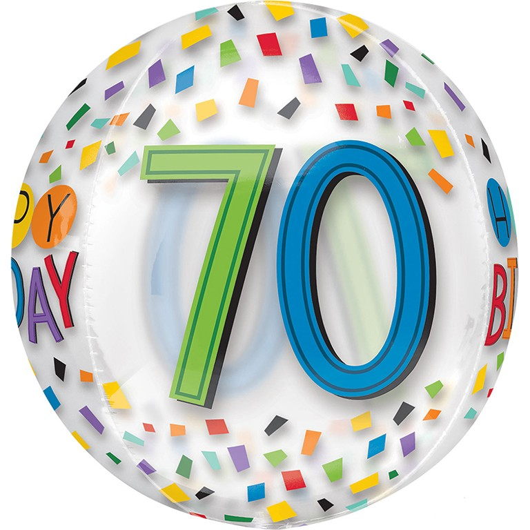 Orbz Clear 70th Birthday Balloon Delivered Inflated In UK