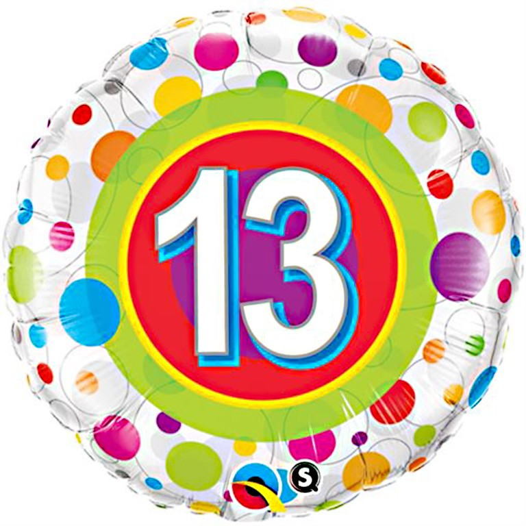 More Views Polka Dots 13th Birthday Balloon