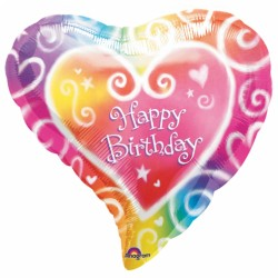 Watercolour Heart Birthday Balloon