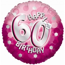 Pink Sparkle Party Happy Birthday 60th Foil Balloon