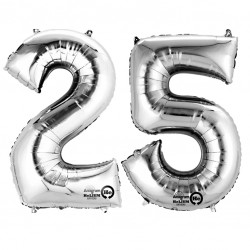 Silver Two Digit Number Balloons 10-99