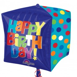 Polkadot Cubez Happy Birthday Balloon