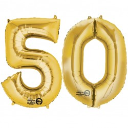 Gold Two Digit Number Balloons 10-99