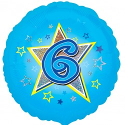 Blue Stars 6th Birthday Balloon