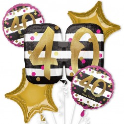 Pink and Gold 40th Birthday Balloon Bouquet