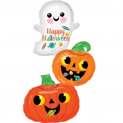 Ghost and Pumpkins Cluster Supershape Balloon