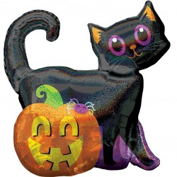 Black Cat Holographic Supershape Balloon