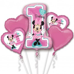 Minnie Mouse 1st Birthday Balloon Bouquet