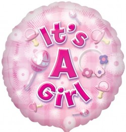 New Baby Girl Circle Balloon