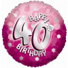 Pink Sparkle Party Happy Birthday 40th Balloon