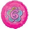 Pink Flowers 6th Birthday Balloon