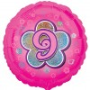 Pink Flowers 9th Birthday Balloon