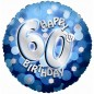 Blue Sparkle Party Happy Birthday 60th Balloon