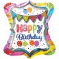Rainbow Confetti Happy Birthday SuperShape Balloon