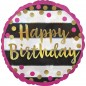 Pink and Gold Happy Birthday Balloon